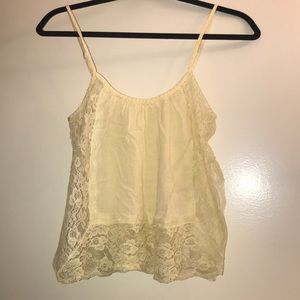 Yellow lace detailed crop top
